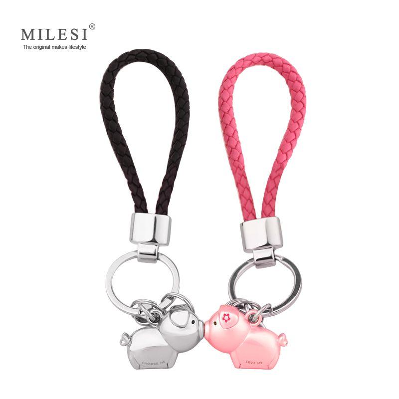 Milesi 3D kiss pig couple keychain for Lovers Gift Trinket lovely key holder women present Chaveiro Innovative Items with K0192