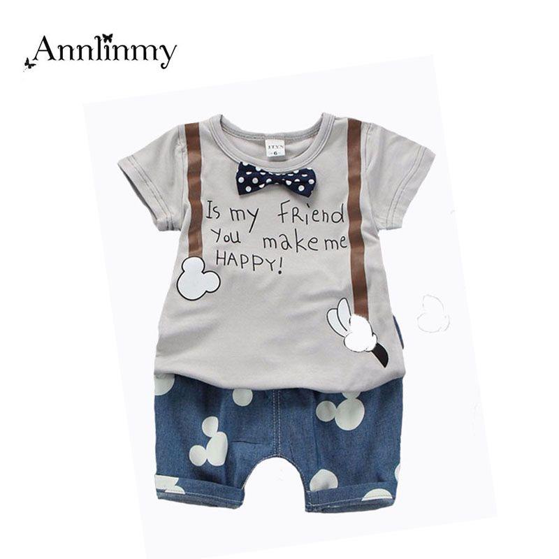 2018 d'été enfants vêtements bébé garçons tenue impression t shirt + souris pantalon 2 pcs bébé garçon vêtements ensemble roupa infantil nouveau-né garçon ensemble