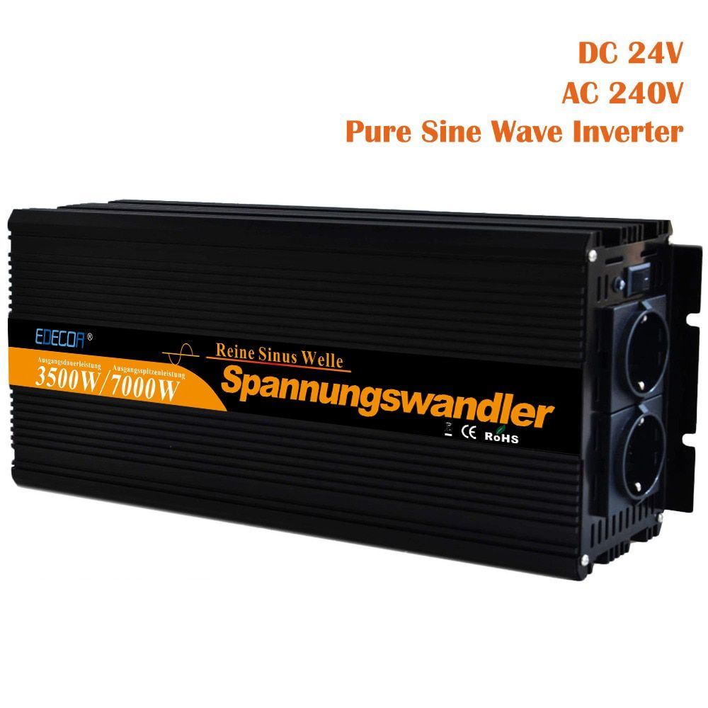 Reine sinus-wechselrichter 3500 watt DC 24 v AC 220 v 230 v 7000 watt spitzenleistung solar-wechselrichter