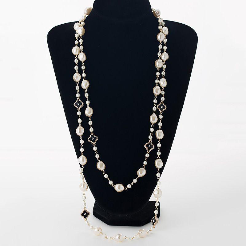 Simulado perla collares largos para las mujeres oro color cadena rhinestone cuatro tréboles de la hoja rebordea collar suéter femenino