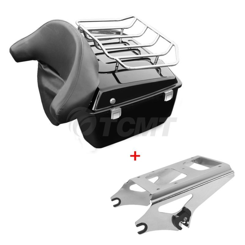 Motorcycle Moto King Tour Pak Pack Trunk w/Two Up Mounting Backrest For Harley Touring Street Electra Glide Road King 09-13