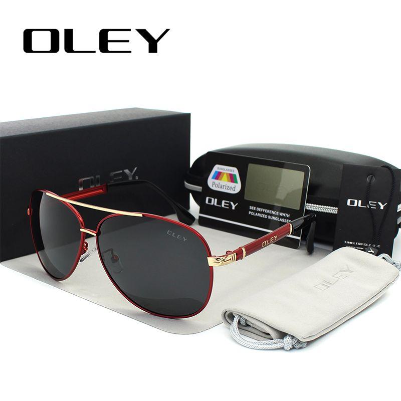 OLEY роскошные солнцезащитные очки мужские Поляризованные классические пилотные солнцезащитные очки рыболовные аксессуары вождения очки ...