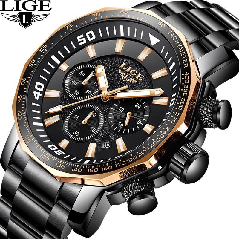 LIGE Men's Watch Top Luxury Brand Business Fashion Classic black Quartz Waterproof Sports Watches Chronograph Relogio Masculino