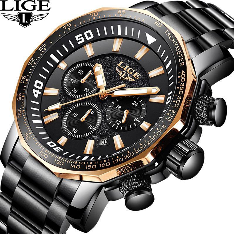 LIGE Men's Watch Top Luxury Brand Business Fashion Classic black Quartz Waterproof Sports Watches Chronograph Relogio Masculino