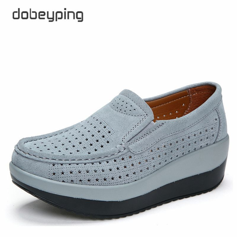 2018 Spring Summer Hole Shoes Woman Cow Suede Leather Flat Platform Women Shoes Slip On Women's Loafers Thick Soled Female Shoe