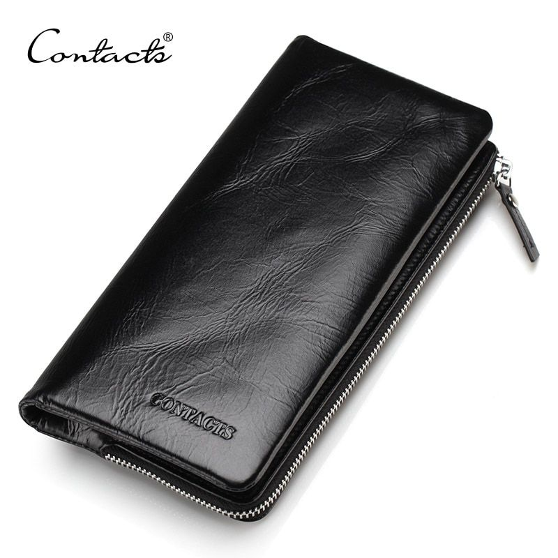 CONTACT'S 2018 New Classical Genuine Leather Wallets <font><b>Vintage</b></font> Style Men Wallet Fashion Brand Purse Card Holder Long Clutch Wallet