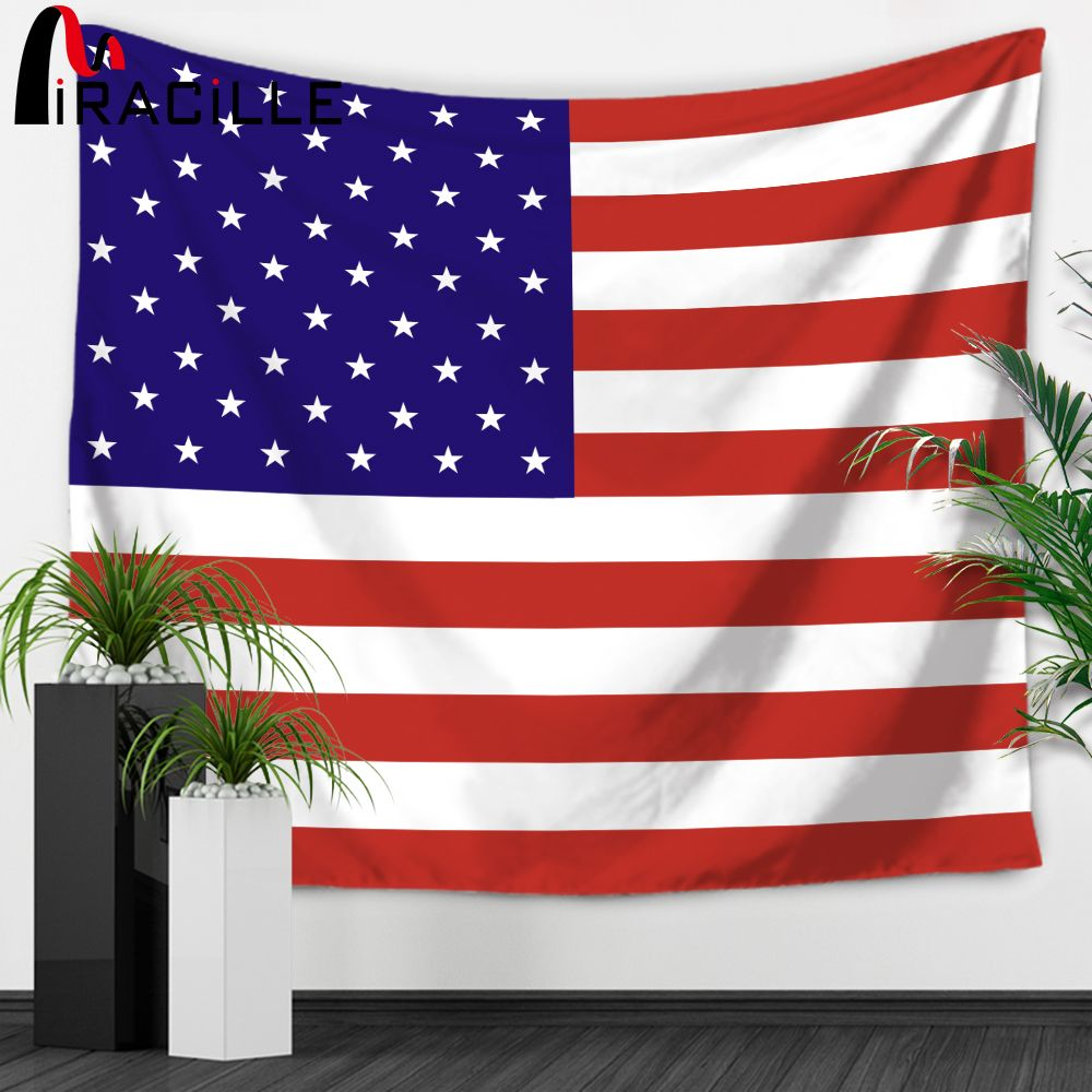 Miracille Stars and Stripes USA Flag Tapestry Wall Hanging Country Symbol Wall Art Hanging Tapestries Bedspreas Dorm Tapestry