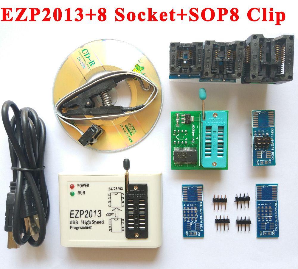 NEW original High Speed EZP2013 USB Programmer + 8 adapter socket + SOP8 SOIC8 clip 24 26 25 93 Bois EEPROM Flash