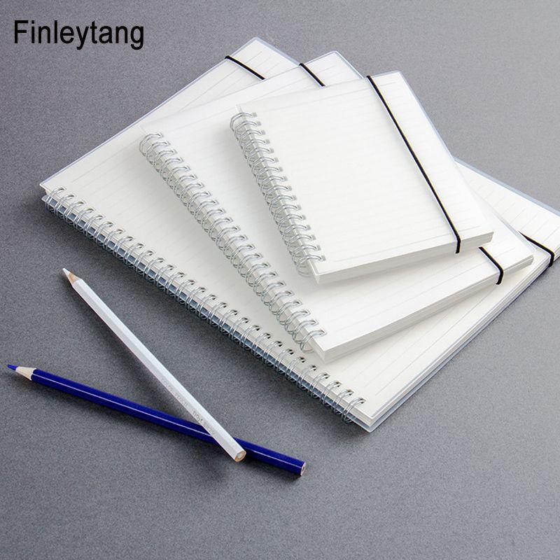 Simple Mignon Style Transparent PP Couverture Argent Double Bobine Anneau Spirale cahier Journal Blanc Dot Grille Ligne À L'intérieur Du Papier A5 A6 B5