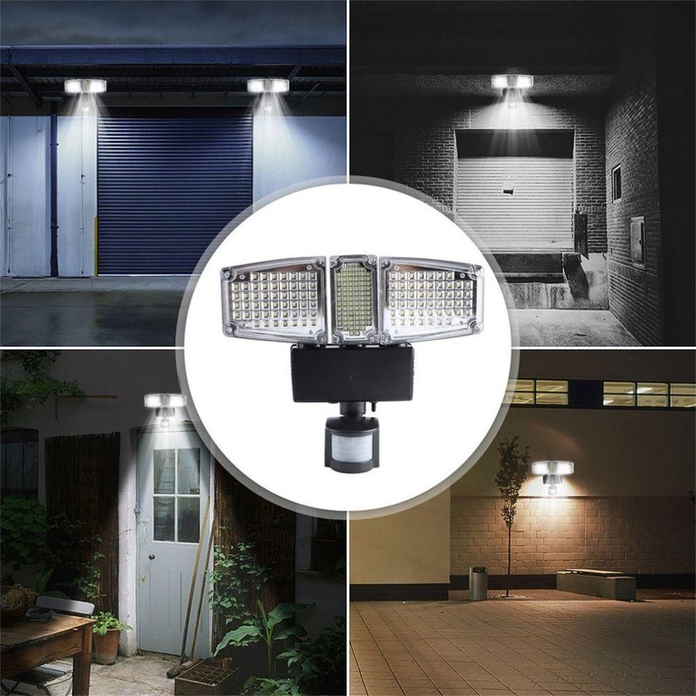 178 LEDs Solar Power Panel Flutlicht PIR Motion Sensor Drei Köpfe Im Freien Wasserdichte Garten Wand Montiert Solar Lampe Beleuchtung