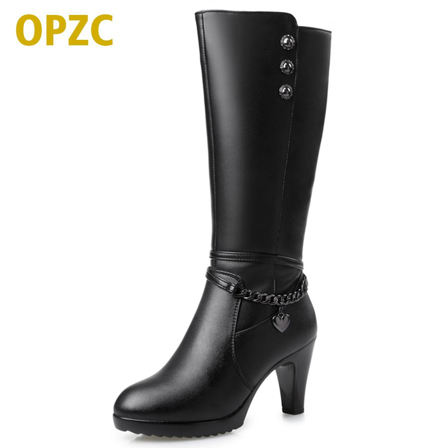Woman boots, high-heeled 2017 Genuine Leather motorcycle boots thick wool warm winter boots female fashion long-barreled