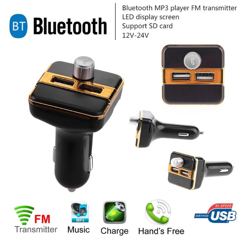 1Pcs Bluetooth Car Kit Hands Free FM Transmitter Handsfree Music Receiver 5V Dual USB Charger Wireless Car MP3 Player 3 Colors
