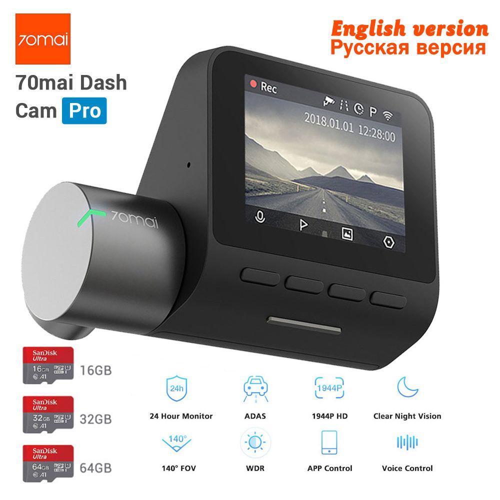 Nouveau Xiaomi 70mai Dash Cam Pro GPS IMX335 WIFI Voix Smart Control Nuit Version DVR 1944 P HD 140FOV caméra embarquée pour voiture 24 H moniteur de stationnement