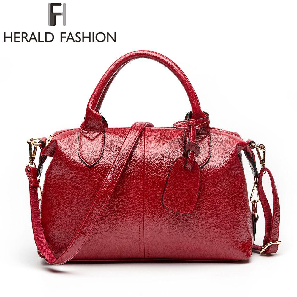 Herald Fashion Solid Women Pillow Handbag Soft PU Leather Women Top-Handle Bag Tote <font><b>Shoulder</b></font> Bag Large Capacity