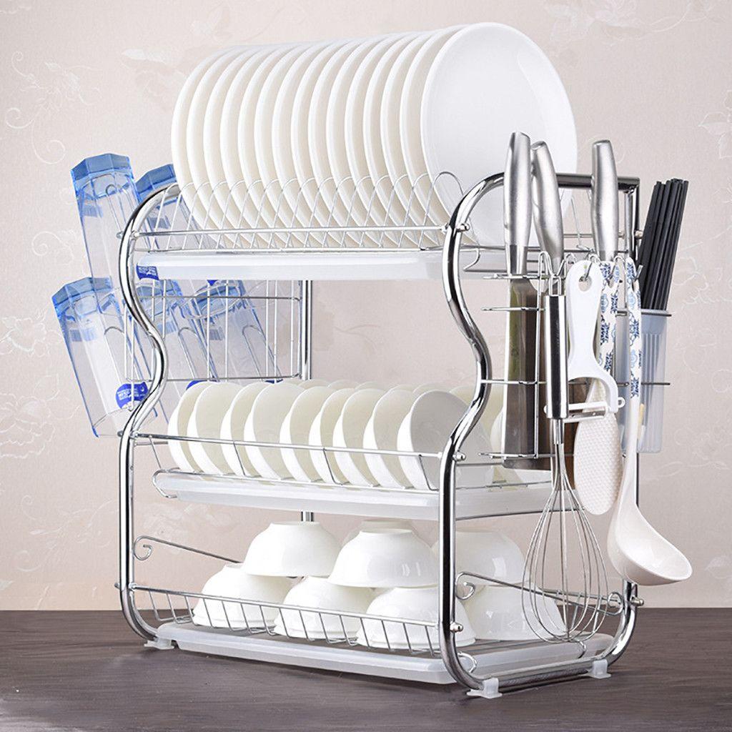 Acier inoxydable 3-Tier plat séchage Rack bol étagère égouttoir organisateur couteau évier plat égouttoir séchage Rack accessoires de cuisine
