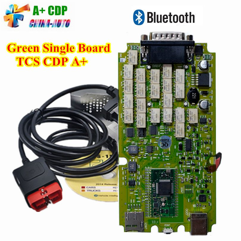 A++ Quality TCS CDP PRO NEW VCI With bluetooth + single board green software 2016 keygen /2015.R3.R1