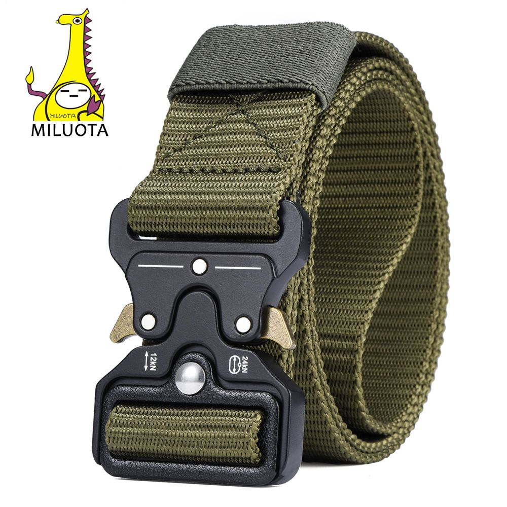 MILUOTA Mens <font><b>Tactical</b></font> Belt Military Nylon Belt Outdoor multifunctional Training Belt Combat Belts Sturdy Waistband MU055