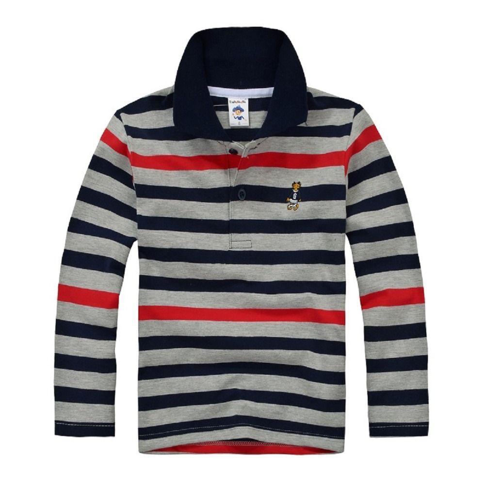 Top qualité enfants garçon polo chemises uniforme scolaire chemise garçons t shirt à manches longues coton vêtements pour 7 8 9 10 11 12 13 14 ans