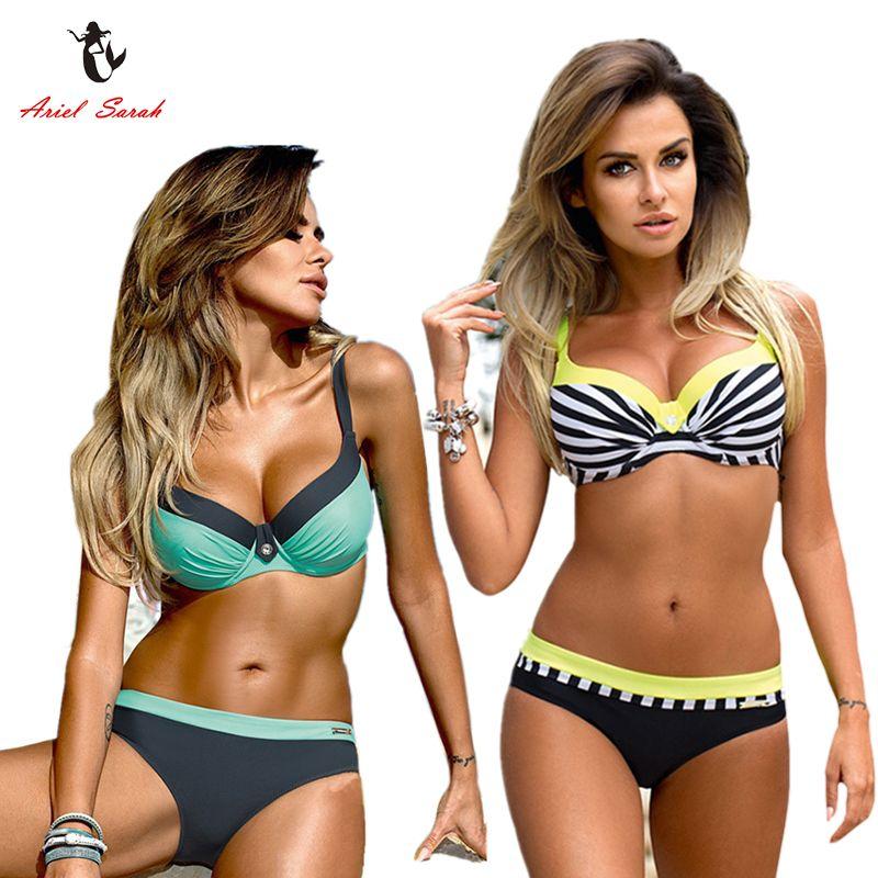 Ariel Sarah <font><b>Striped</b></font> Bikini 2018 Plus Size Swimwear Swimsuit Women Sexy Monokini Push Up Bathing Suit Beach Wear Biquini Q210