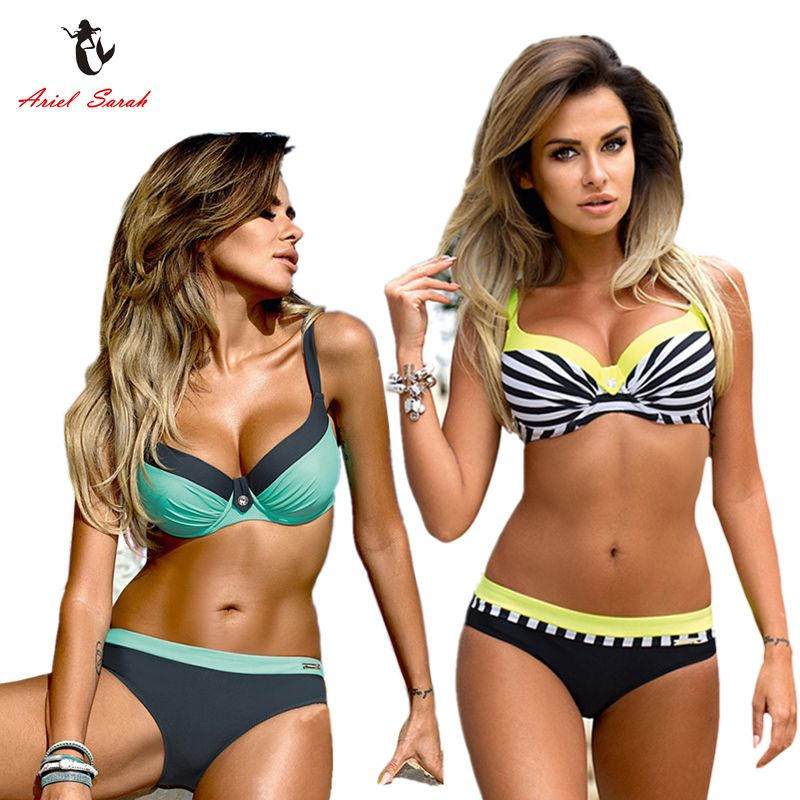 Ariel Sarah Rayé Bikini 2018 Plus La Taille de Maillots De Bain Maillot de Bain Femmes Sexy Monokini Push Up Maillot de bain Vêtements De Plage Biquini Q210