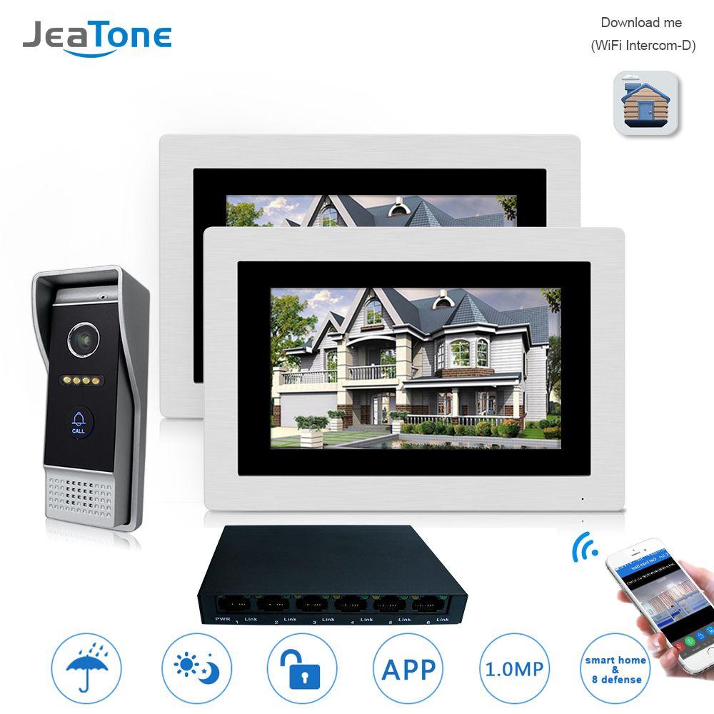 7'' WIFI IP Video Door Phone Intercom Wireless Door Bell Speaker Access Control System Touch Screen Motion Detection 2 Apartment
