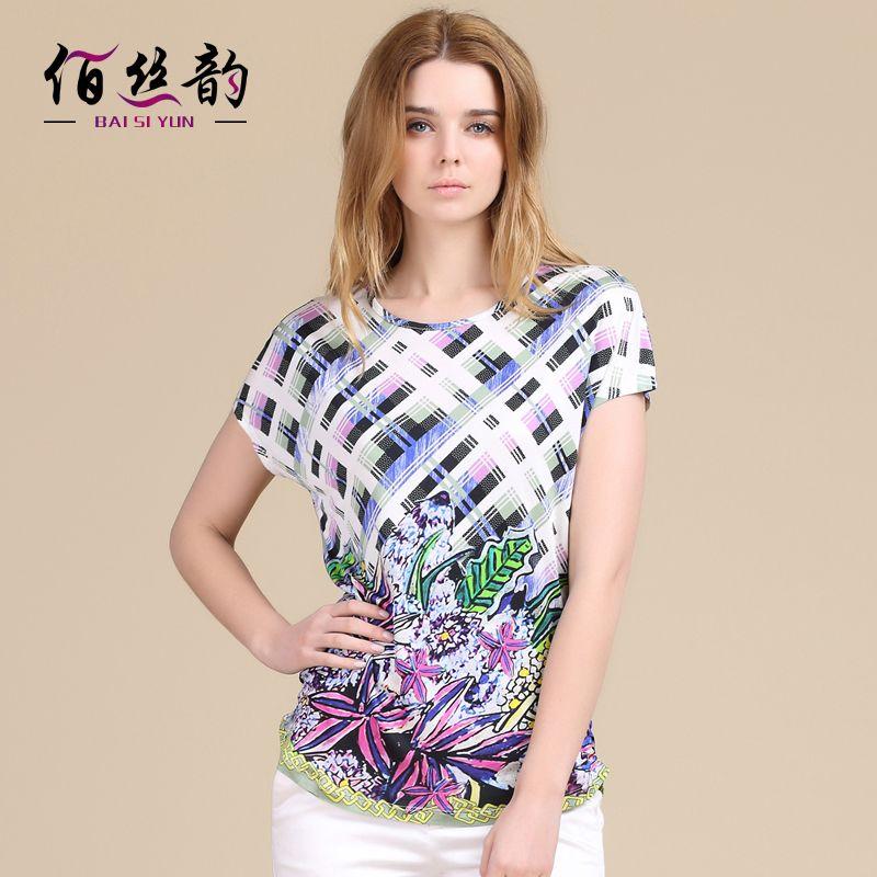 Silk Knitting Printing T-shirt In Summer 100% Silk New Summer Coat Primer