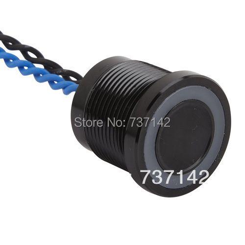 ELEWIND Noir couleur aluminium anodisé piézo push commutateur (19mm, PS193P10YBK1B24L, Rohs, CE)