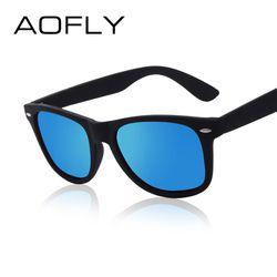 AOFLY Mode Sonnenbrillen Männer Polarisierte Sonnenbrille Männer Fahren Spiegel Beschichtung Punkte Schwarz Rahmen Brillen Männlichen Sonnenbrille UV400
