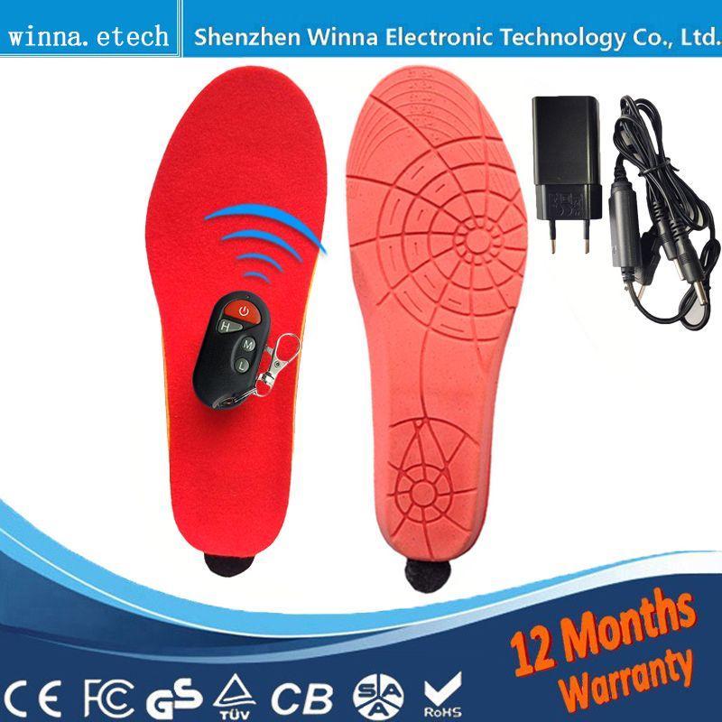 Chauffage semelles Batterie Hiver épaisse semelle en peluche Alimenté Avec Sans Fil À Distance Type Noir rouge Chaussures En Mousse À Mémoire accessoires