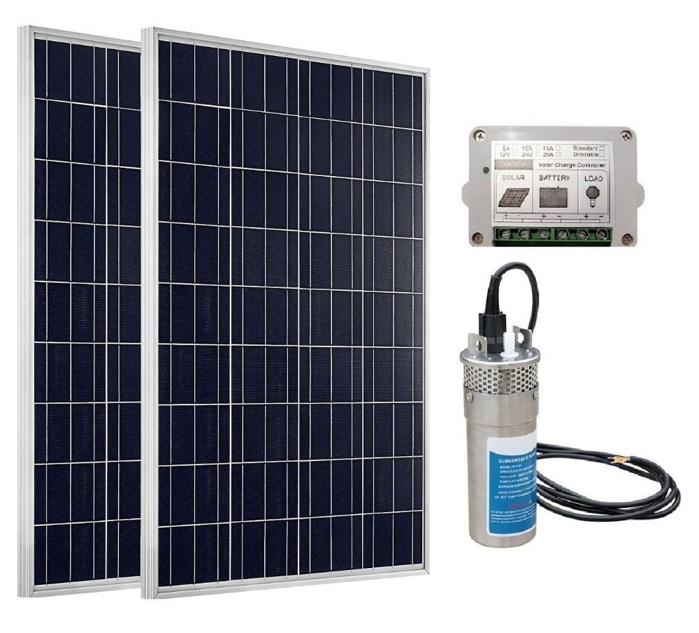 ECO-WORTHY 24V Deep Well S/Steel Water Pump + 2pc 100W Poly Solar Panel+ Controller Irrigation