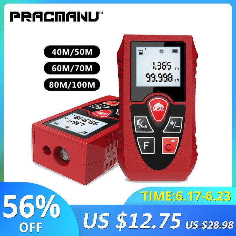 Télémètres Laser PRACMANU 40 M 60 M 80 M 100 M compteur de Distance Laser numérique à piles appareil de mesure Laser règle outil de Test