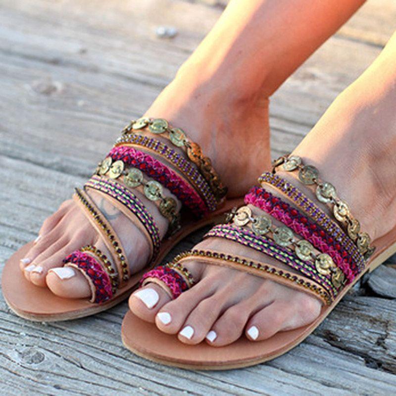 NAN JIU MOUNTAIN 2019 Summer Sandals Women Flat Sandals Celebrity Bohemian Handmade Beaded Rhinestones Women's Shoes Plus Size