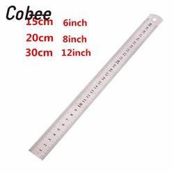 Cobee a 15/20/30 cm 6/8/12 pouce Métrique Règle Règle En Acier Inoxydable Métal Droite règle Précision Double Face Règle