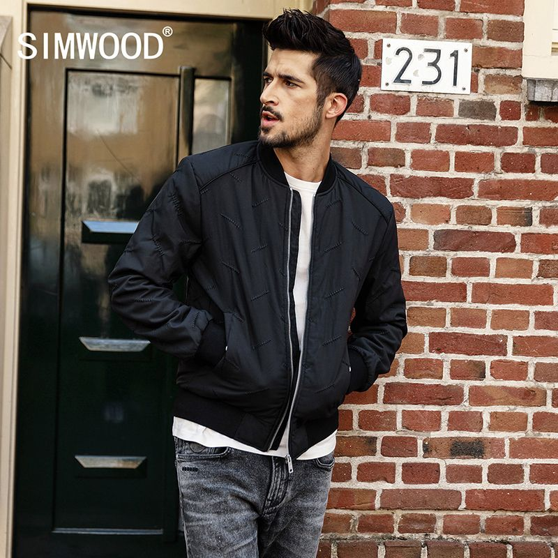 SIMWOOD New 2018 Winter Men Outerwear Plus Size Polyester Thin Fashion Brand Jacket Men parka Spring Casual Warm Coat MD017003