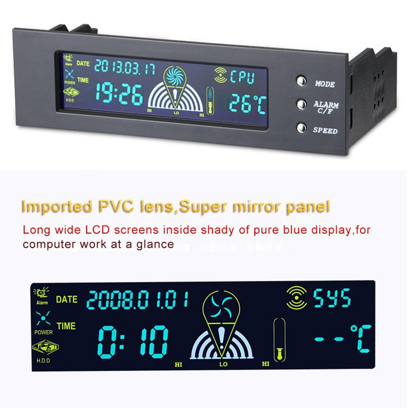 5.25 <font><b>inch</b></font> Computer Fan Controller PC Desktop Front Panel 3 CPU Temperature Sensor LCD Digital Display Fan Speed Controller