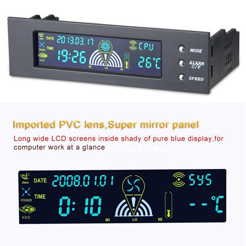 5.25 pouces ordinateur ventilateur contrôleur pc de bureau panneau avant 3 CPU capteur de température LCD affichage numérique ventilateur vitesse contrôleur nouveau