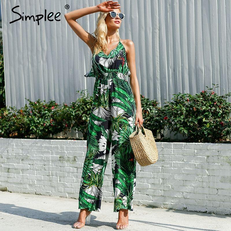 Simplee Ruffle Leaf print sexy jumpsuit Boho <font><b>green</b></font> rompers women jumpsuit 2018 Elegant chiffon summer jumpsuit