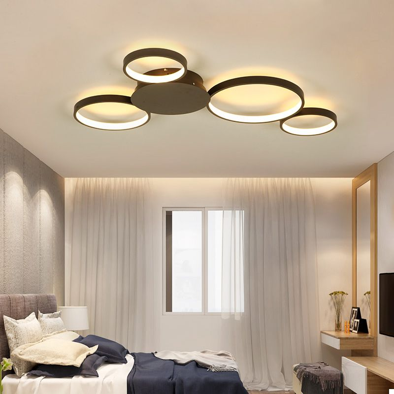 VEIHAO Modern LED chandelier Creative living room fixtures bedroom ceiling lamp White/Matte Coffee Chandelier lighting AC85-260V