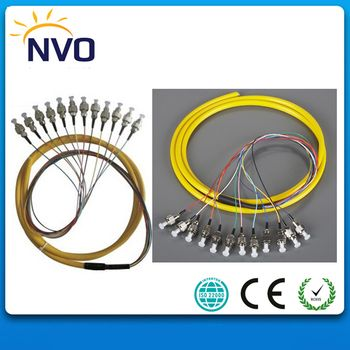 Free Shipping 12 Core 1.5M Multimode OM2,50cm from Cable to Connector, FC/UPC PVC Jacket Bundle Pigtail MM Fiber Optic Pigtail