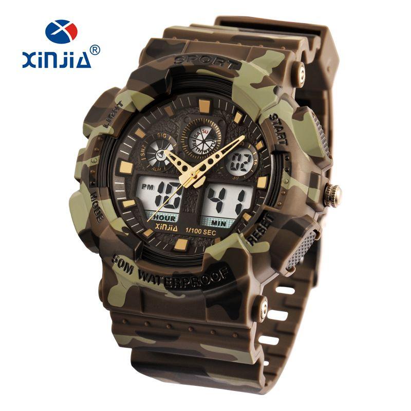 XINJIA marque Style japon mouvement militaire résistant aux chocs montres numériques armée Camouflage sport LCD hommes en plein air étanche