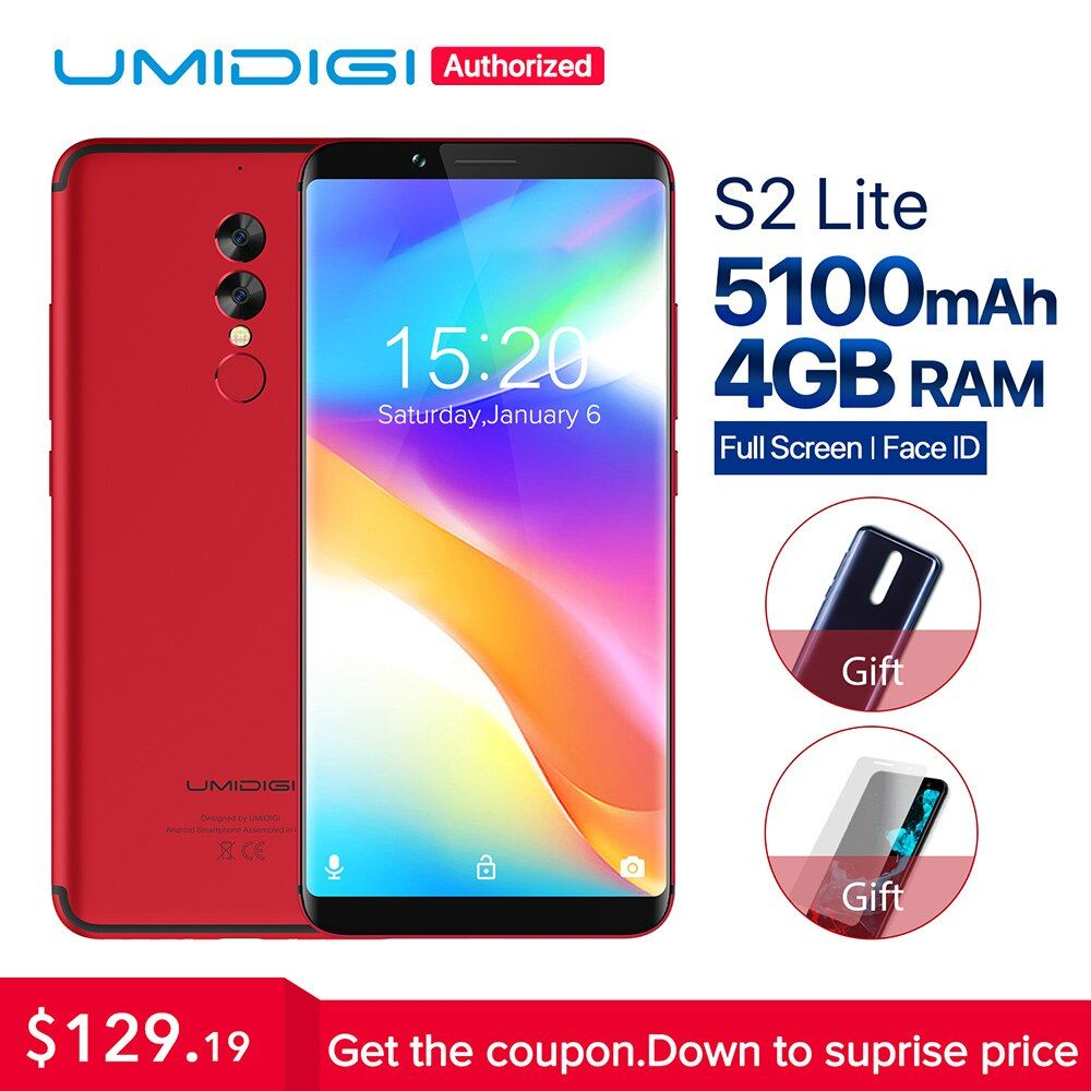 <font><b>UMIDIGI</b></font> S2 Lite 18:9 Full Screen Android 7.0 smartphone Face ID 5100mAh 4GB 32GB 16MP Dual Camera 4G LTE touch ID mobile phone