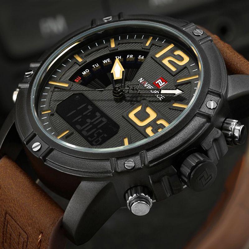 2017 NAVIFORCE Luxury Brand Men's Quartz Digital Watches Men Fashion Casual Sports Clock Genuine Leather Military Wristwatches