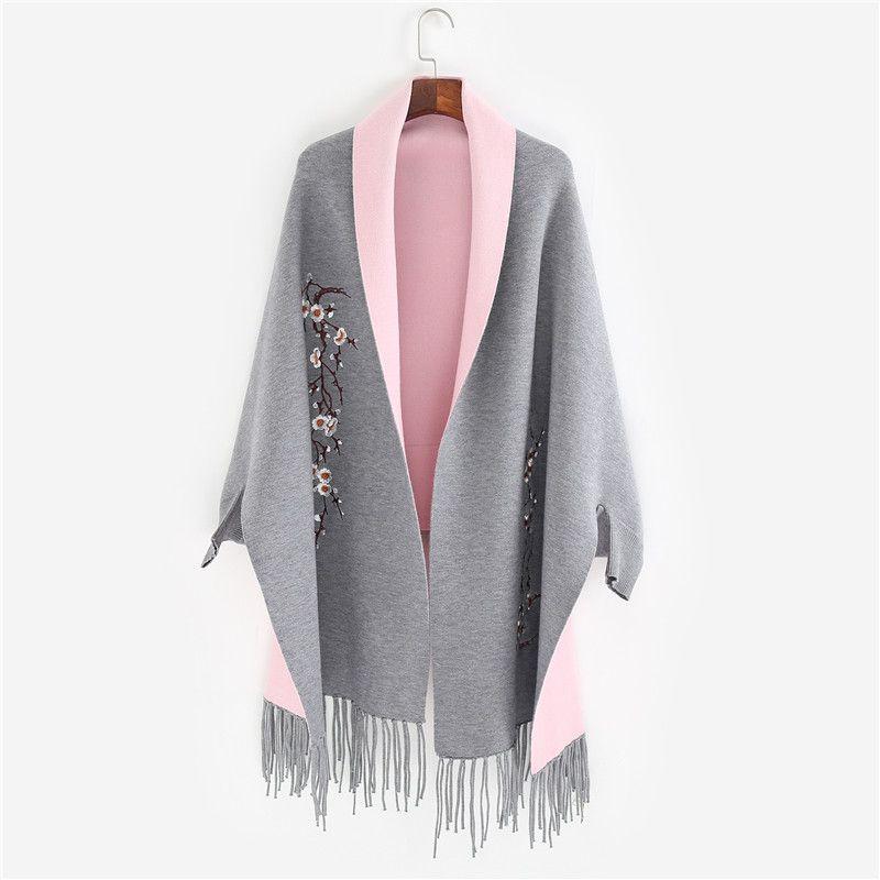 Фирменная новинка дизайн с рукавом пончо шарф зимние теплые кашемировые Вышивка мыс кисточкой Одеяло завернутый шарф шаль для Для женщин