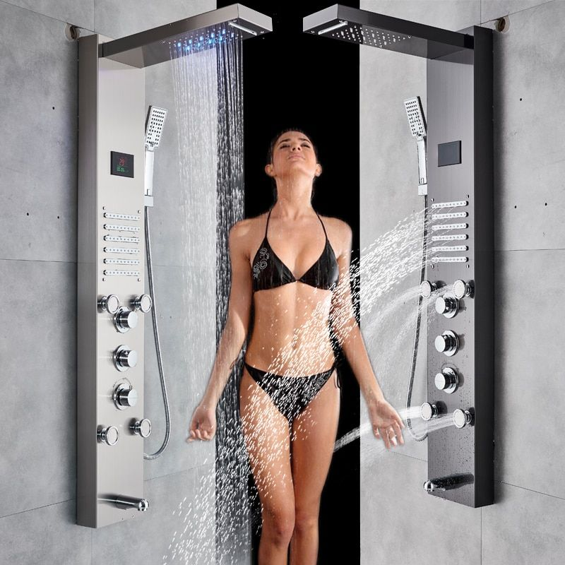 Oil Rubbed Bronze Bathroom Shower Faucet LED Shower Head Shower Panel Bathtub Mixer Tap with Hand Shower