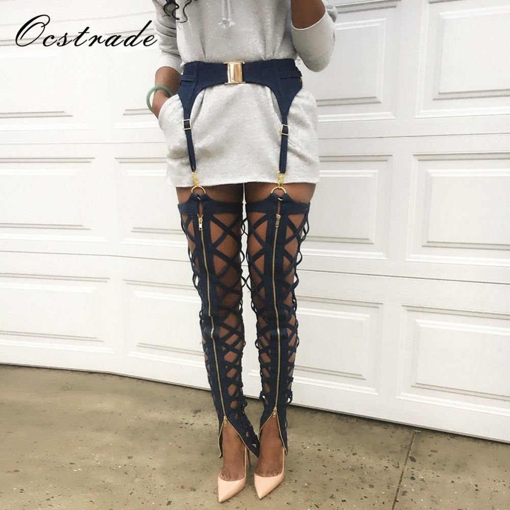 Ocstrade New Products 2018 Summer Fahison Lace Up Women Black Sexy Bandage Leggings with Zip Embellished