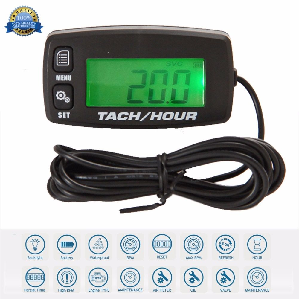 Digital Resettable Inductive Tacho-Hour-Meter Tachometer for Motorcycle Marine Boat ATV Snowmobile Generator Mower