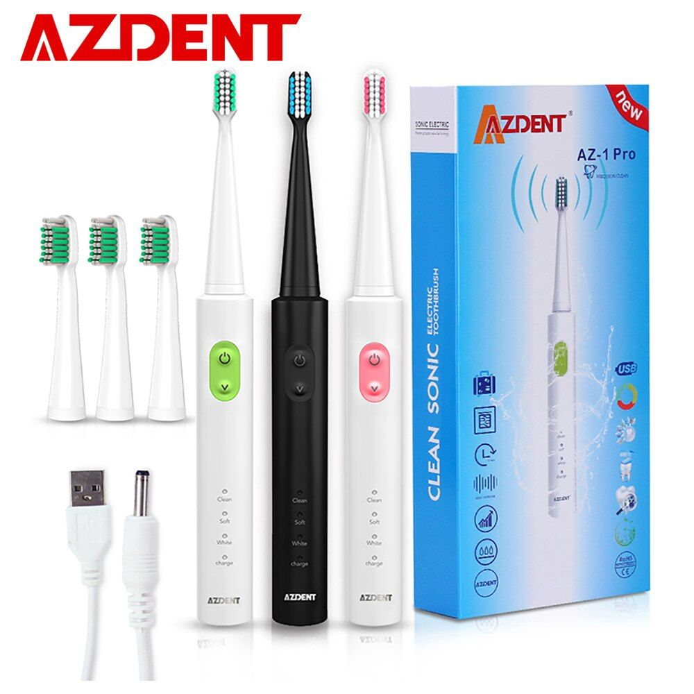 D'AZDENT Nouveau AZ-1 Pro Sonic Brosse À Dents Électrique Rechargeable USB Charge 4 pièces Têtes Remplaçables Minuterie Dents Brosse À Dents Étanche