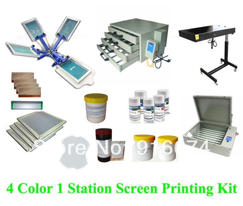 SCHNELLES FREIES verschiffen Volle set 4 farbe siebdruck kit tinte emulsion t-shirt drucker presse ausrüstung UV exposition rakel