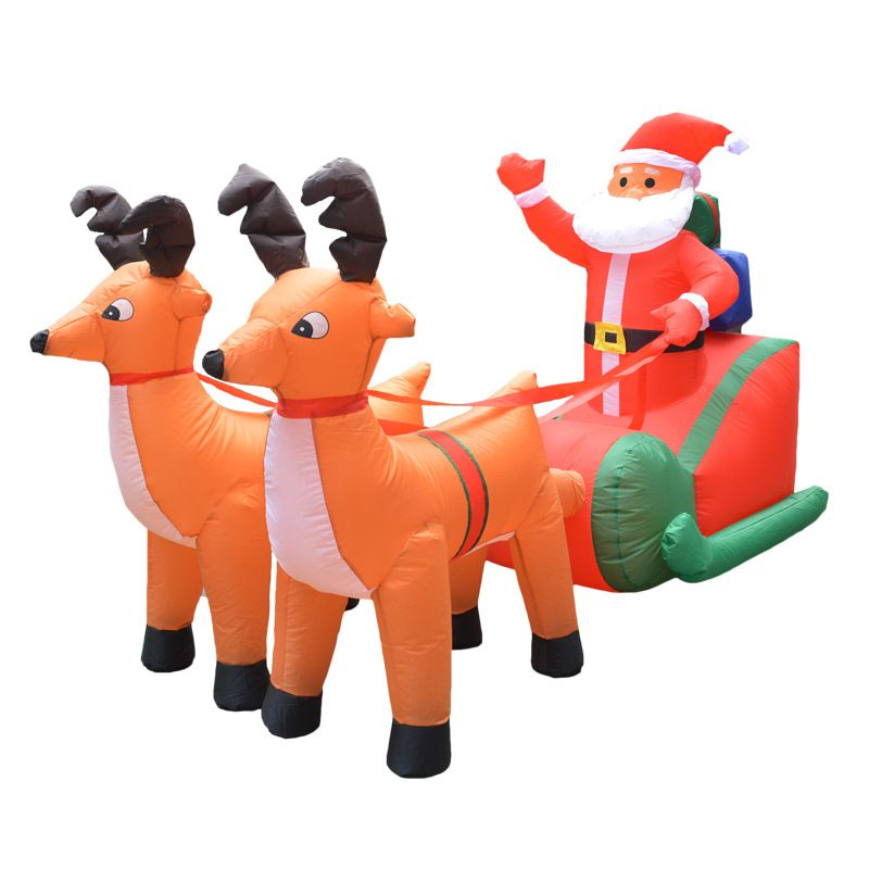 210cm Giant Inflatable Santa Claus Double Deer Sled LED Lighted Blows Up Fun Toys Children Christmas Gifts Halloween Party Props