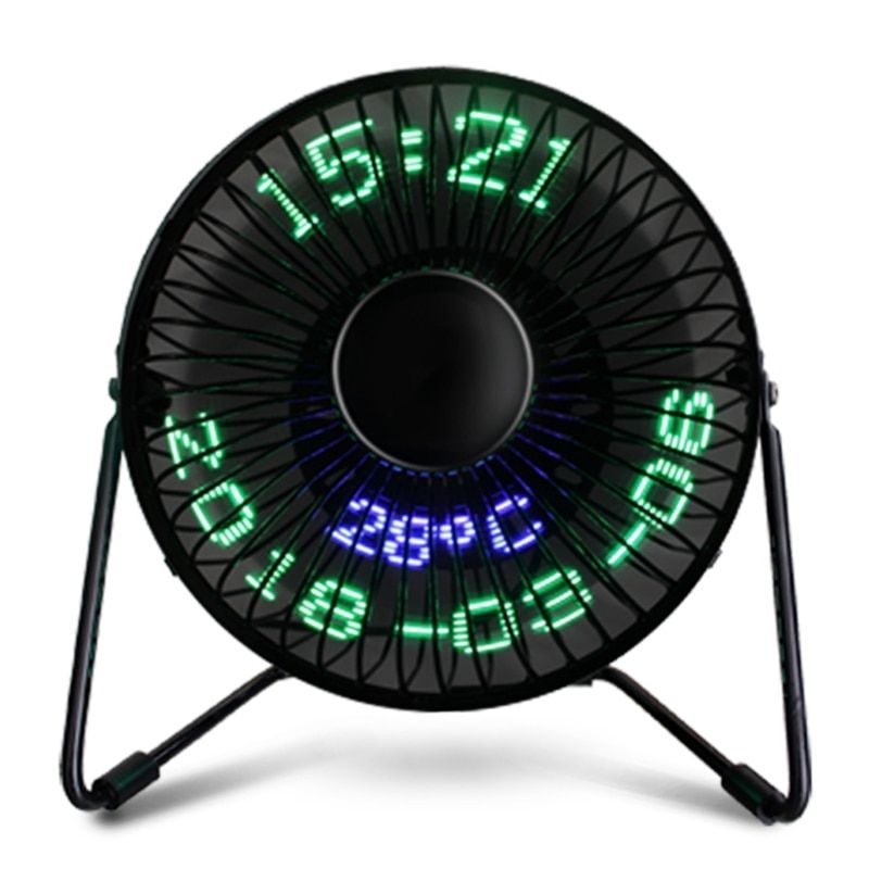 Portable USB Fan USB LED Desk Real Time Date Temperature Display Cooling Fan for Home Office PC Gadgets